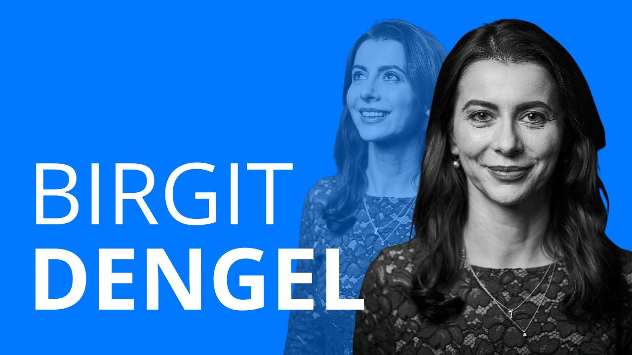 Schriftzug Birgit Dengel und ein freigestelltes Foto einer Frau