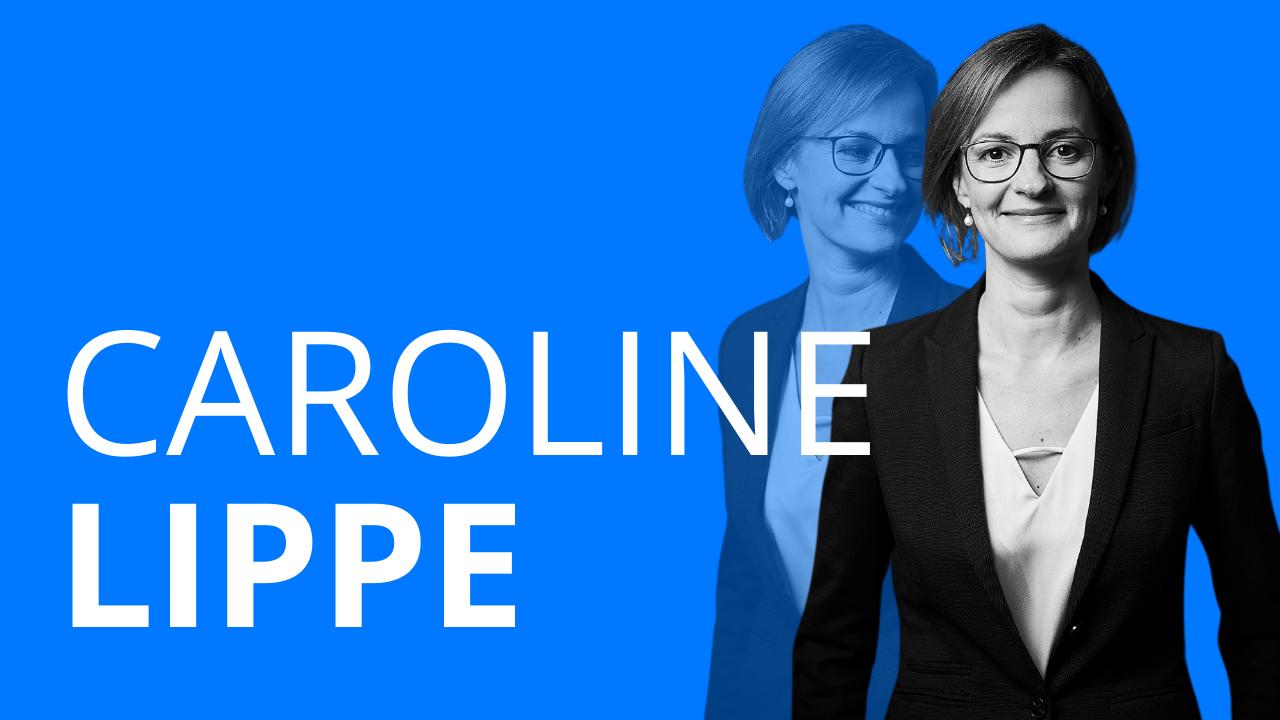 Schriftzug Caroline Lippe und ein freigestelltes Foto einer Frau