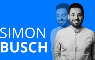 Schriftzug Simon Busch und ein freigestelltes Foto eines Mannes
